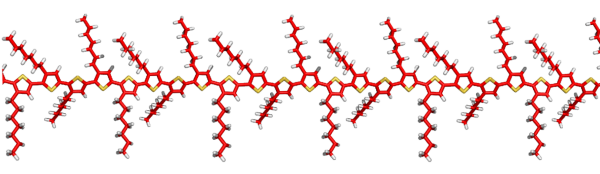 Structure of a conjugated polymer (based on polythiophene) designed for photovoltaic device applications.